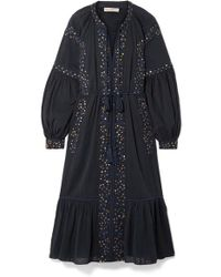 Ulla Johnson Vanita Embellished Cotton-gauze Midi Dress - Blue