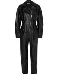 Philosophy Di Lorenzo Serafini Embroidered Crinkled Faux Leather Jumpsuit - Black