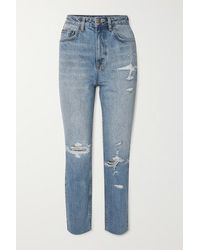 Ksubi Chlo Wasted Distressed High-rise Straight-leg Jeans - Blue