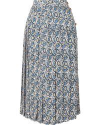 Victoria Beckham - Pleated Printed Silk-crepon Midi Skirt - Lyst