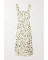 Reformation Spaulding Ruffled Floral-print Linen Midi Dress - White