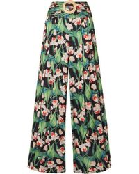 PATBO Floral Belted Wide Leg Trousers - Green