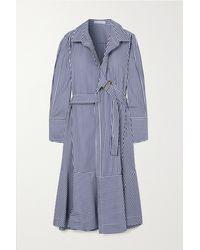 Palmer//Harding Calli Midi-wickel-hemdblusenkleid Aus Gestreifter Baumwollpopeline Mit Gürtel - Blau