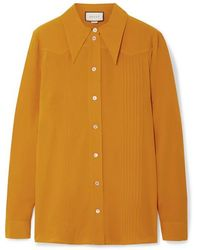Gucci Pintucked Silk Crepe De Chine Shirt - Multicolor