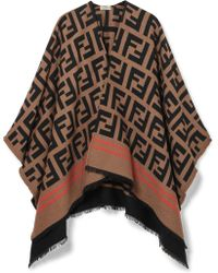 Fendi - Frayed Wool And Silk-blend Jacquard Poncho - Lyst