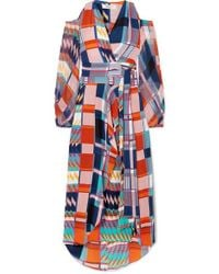 Diane von Furstenberg Lyra Printed Silk Crepe De Chine Wrap Maxi Dress - Purple
