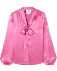 Gucci Pussy-bow Silk-satin Blouse - Pink