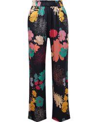 Stine Goya - Vinnie Floral-print Silk-blend Satin Straight-leg Pants - Lyst