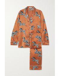 Olivia Von Halle Lila Pyjama Aus Bedrucktem Seidensatin - Mehrfarbig