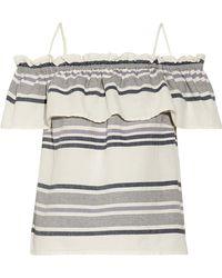 Splendid - Off-the-shoulder Ruffled Striped Cotton-gauze Top - Lyst
