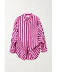 Balenciaga Swing Gestreiftes Hemd Aus Baumwollpopeline - Pink