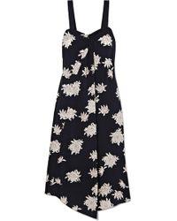 Vince - Asymmetric Floral-print Silk-crepe Midi Dress - Lyst