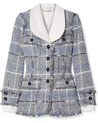 Alessandra Rich - Twill-trimmed Metallic Tweed Blazer - Lyst