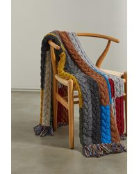 Alanui Tierra Del Fuego Fringed Striped Cable-knit Wool And Cashmere-blend Blanket - Yellow