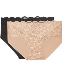 Commando - Set Of Two Double Take Lace-paneled Stretch Briefs - Lyst