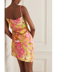Maisie Wilen Party Girl Asymmetric Printed Crepe Mini Dress - Pink