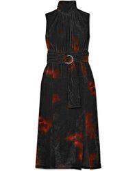 Altuzarra - Ruffled Tie-dye Velvet Turtleneck Midi Dress - Lyst