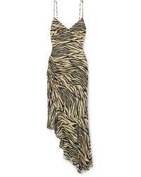 Nicholas Asymmetric Ruched Zebra-print Silk Crepe De Chine Midi Dress - Multicolour