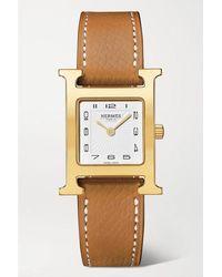 Hermès Heure H 21 Mm Kleine Vergoldete Uhr Mit Armband Aus Strukturiertem Leder - Braun