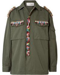Valentino - Embellished Cotton-gabardine Jacket - Lyst
