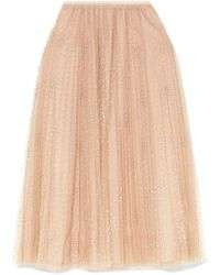 RED Valentino - Fil Coupé Tulle Midi Skirt - Lyst