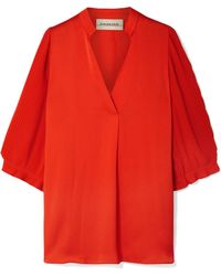 By Malene Birger - Sanah Pleated Crepe And Georgette Blouse - Lyst
