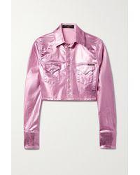 Dolce & Gabbana Pop Verkürzte Jeansjacke Mit Metallic-beschichtung - Pink