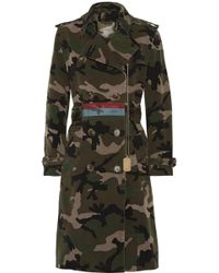 Valentino - Embellished Camouflage-print Cotton-canvas Trench Coat - Lyst
