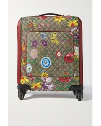 Gucci Ophidia Bedruckter Koffer Aus Beschichtetem Canvas Mit Besatz Aus Strukturiertem Leder - Natur