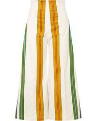 Silvia Tcherassi - Pietrone Cropped Striped Stretch-cotton Wide-leg Pants - Lyst