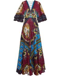Etro - Ruffled Silk-jacquard And Printed Crepe De Chine Maxi Dress - Lyst