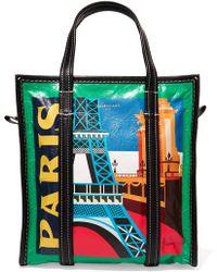Balenciaga - Bazar Paris Small Printed Textured-leather Tote - Lyst