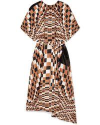 Christopher Kane Sequin-embellished Checked Silk-satin Midi Dress - Multicolor