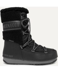 Moon Boot Shell, Rubber And Wool Snow Boots - Black