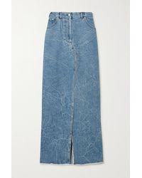 Dries Van Noten Silvana Frayed Denim Maxi Skirt - Blue