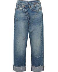 R13 Jean Large Asymétrique Taille Haute Effet Vieilli Crossover - Bleu