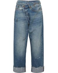 R13 Crossover Asymmetric Distressed High-rise Wide-leg Jeans - Blue