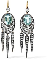 Fred Leighton - Collection 18-karat Gold, Aquamarine And Diamond Earrings - Lyst