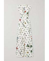 Oscar de la Renta Cutout Floral-print Cotton-blend Poplin Jumpsuit - Multicolour