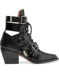 Chloé - Rylee Cutout Leather Ankle Boots - Lyst