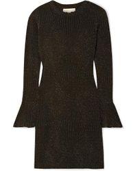 MICHAEL Michael Kors Metallic Stretch-knit Bell-cuff Dress - Black