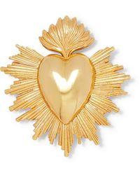 Oscar de la Renta Sacred Heart Gold-tone Brooch - Metallic