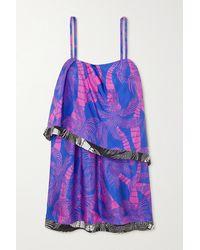 Dries Van Noten Dolari Draped Printed Silk Mini Dress - Blue