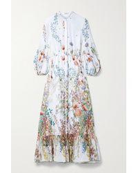 Charo Ruiz Jeanette Floral-print Cotton-poplin Midi Dress - White