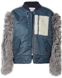 Sandy Liang - Peter Shell And Shearling Bomber Jacket - Lyst