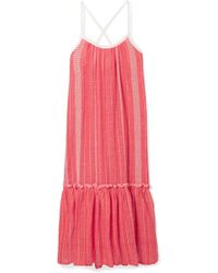 lemlem - Saba Tiered Embroidered Cotton-gauze Maxi Dress - Lyst