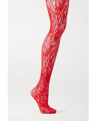 Dries Van Noten Floral Stretch-lace Tights - Red