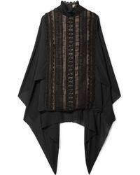 Elie Saab - Cape-back Cotton-blend Lace And Georgette Turtleneck Blouse - Lyst
