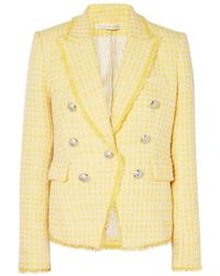 Veronica Beard Dickey Double-breasted Checked Bouclé-tweed Blazer - Yellow