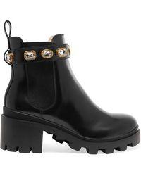 Gucci Chelsea Boots Aus Leder Mit Kristallen - Schwarz